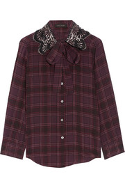 Marc Jacobs Pussy-bow embellished checked silk blouse