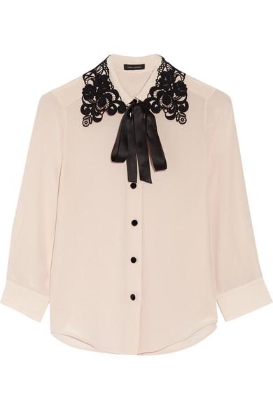 marc jacobs female 124136 marc jacobs guipure lacetrimmed silk crepe de chine shirt lilac