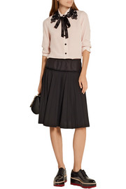 Guipure lace-trimmed silk crepe de chine shirt