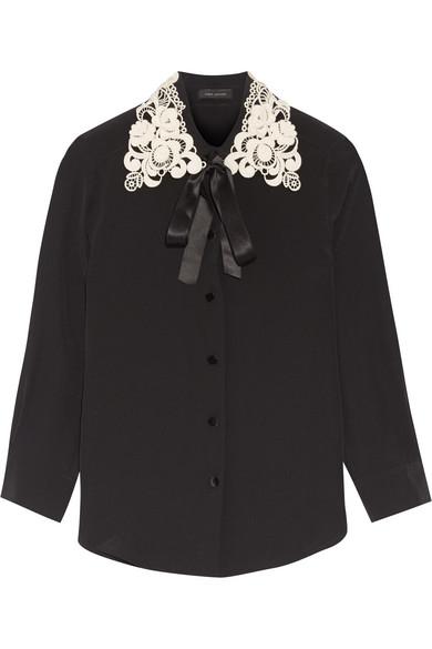 marc jacobs female 188971 marc jacobs guipure lacetrimmed silk crepe de chine shirt black