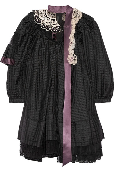 marc jacobs female 188971 marc jacobs embellished ruffled silkblend gazar mini dress black