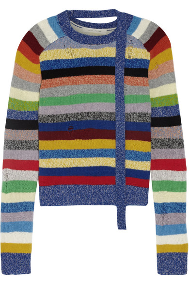 Marc Jacobs - Distressed Striped Cashmere Sweater - Blue