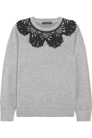 marc jacobs female 123868 marc jacobs crochettrimmed cottonblend jersey sweatshirt gray