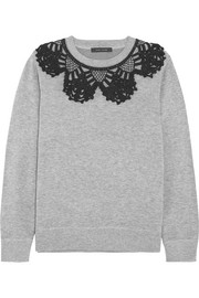 Marc Jacobs Crochet-trimmed cotton-blend jersey sweatshirt