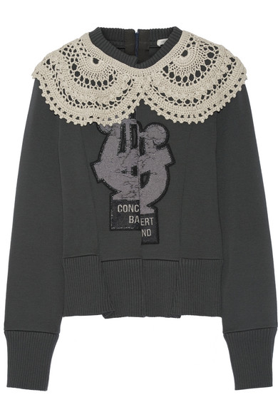 marc jacobs female 123868 marc jacobs crochettrimmed appliqued woolblend sweater dark gray