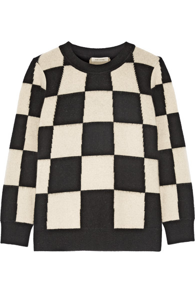 marc jacobs female 45883 marc jacobs checked cashmere sweater offwhite