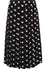 Pleated polka-dot silk crepe de chine skirt