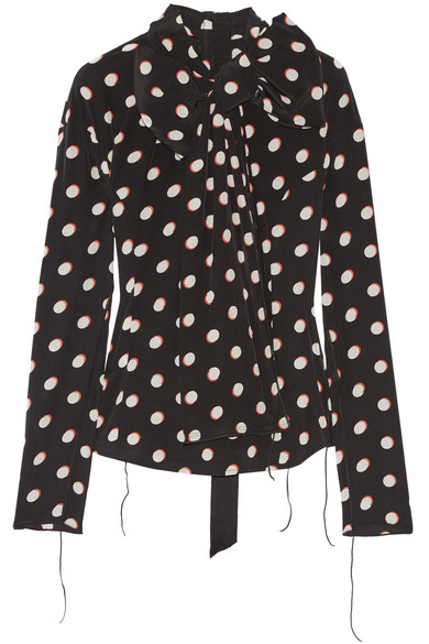 Marc Jacobs - Pussy-bow Polka-dot Silk Crepe De Chine Blouse - Black