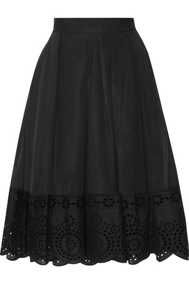 marc jacobs female 188971 marc jacobs broderie anglaisetrimmed stretchcotton poplin skirt black