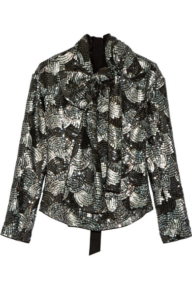 Marc Jacobs - Pussy-bow Sequined Chiffon Blouse - Gray green