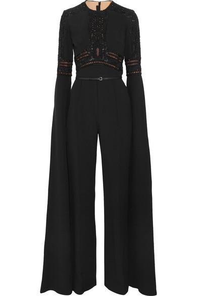a459b114ce1e Elie Saab. Embellished lace-paneled crepe jumpsuit