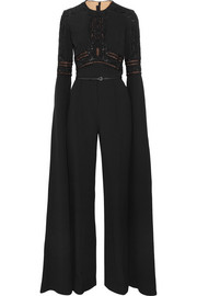 Embellished lace-paneled crepe jumpsuit