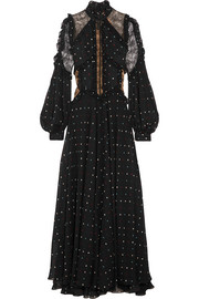 Elie Saab Lace-paneled polka-dot silk-blend chiffon gown