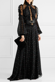 Lace-paneled polka-dot silk-blend chiffon gown
