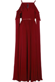 Ruffled cutout silk-chiffon gown