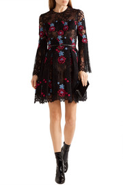 Fringed embroidered cotton-blend tulle mini dress
