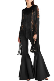Fringed lace and crepe top
