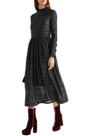 Markus Lupfer Danielle ruffle-trimmed metallic fil coupé midi dress