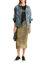 Markus Lupfer Brana leather-trimmed pleated lamé skirt