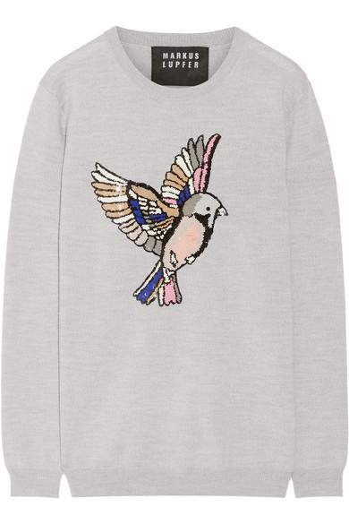 Markus Lupfer - Natalie Sequin-embellished Merino Wool Sweater - Light gray