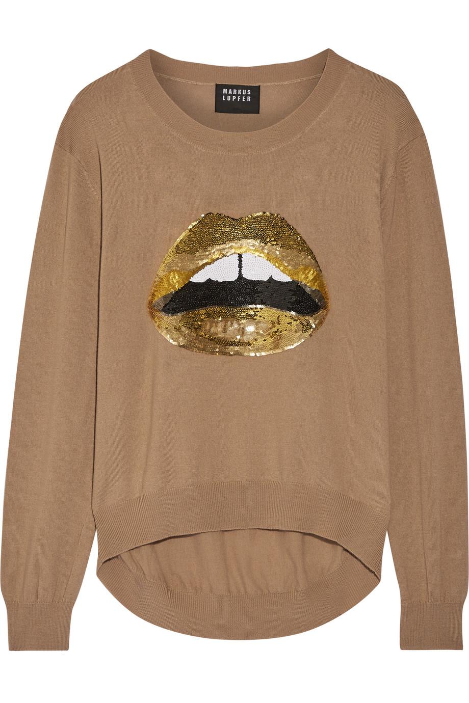 Markus Lupfer Lara Lip Joey Sequin-Embellished Merino Wool Sweater, Mushroom, Women's, Size: XS