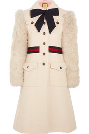 Faux shearling-paneled cotton-blend tweed coat