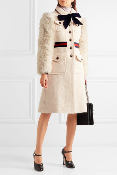 latest sale shop for newest popular stores Faux shearling-paneled cotton-blend tweed coat