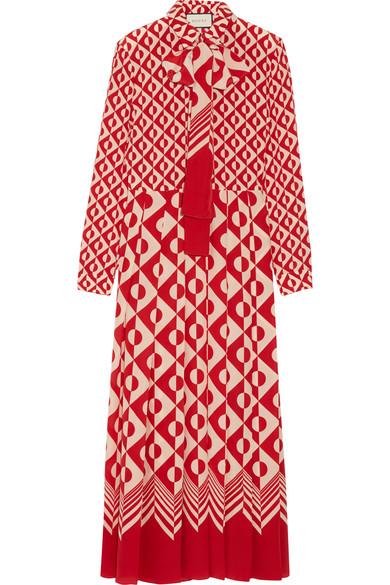 Gucci - Printed Silk Crepe De Chine Maxi Dress - Brick