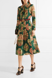Gucci Pleated printed silk crepe de chine midi dress