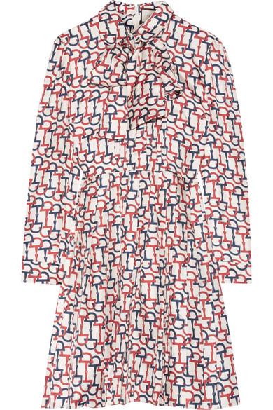 Gucci - Pussy-bow Printed Silk-twill Mini Dress - Red