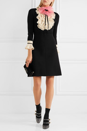 Organza-embellished ruffled wool mini dress