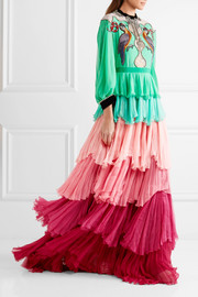 Velvet-trimmed embellished tiered silk-chiffon gown