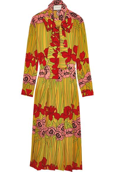Gucci - Floral-print Silk Crepe De Chine Dress - Red