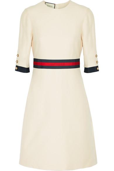 Gucci - Grosgrain-trimmed Wool And Silk-blend Mini Dress - Cream