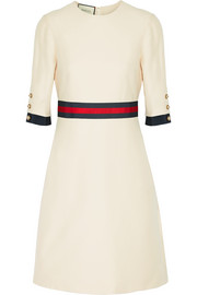 Grosgrain-trimmed wool and silk-blend mini dress