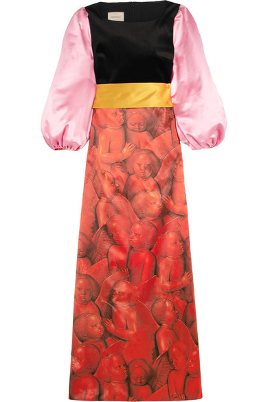 Gucci - Embellished Printed Silk-satin And Velvet Gown - Red