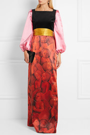 Gucci Embellished printed silk-satin and velvet gown