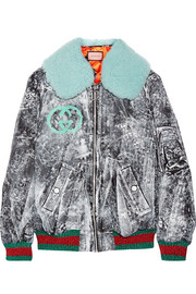 Gucci Shearling-trimmed painted gabardine bomber jacket