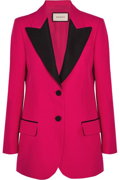 Gucci - Faille-trimmed Wool And Silk-blend Crepe Blazer - Fuchsia