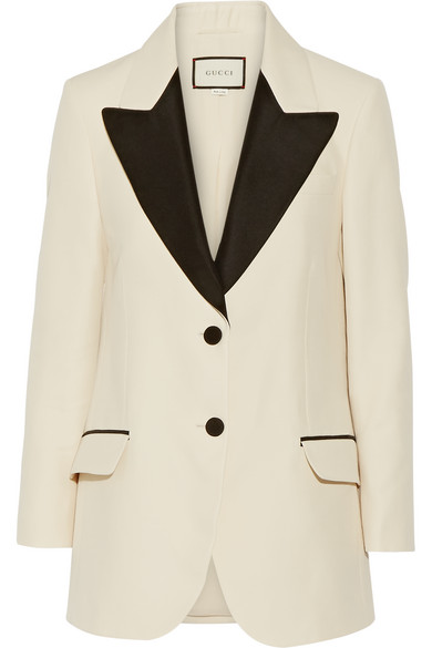 Gucci - Two-tone Wool And Silk-blend Faille Blazer - Cream