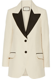 Gucci Two-tone wool and silk-blend faille blazer