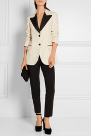 Two-tone wool and silk-blend faille blazer