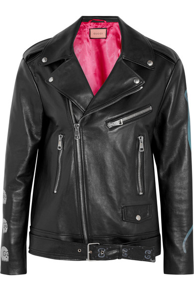 Gucci - Painted Textured-leather Biker Jacket - Black