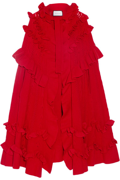 Gucci - Ruffled Pointelle-knit Wool Cape - Red