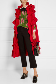 Gucci Ruffled pointelle-knit wool cape