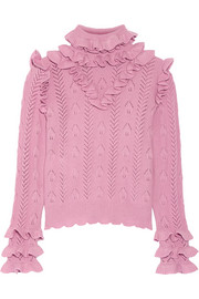 Ruffled pointelle-knit wool-blend sweater