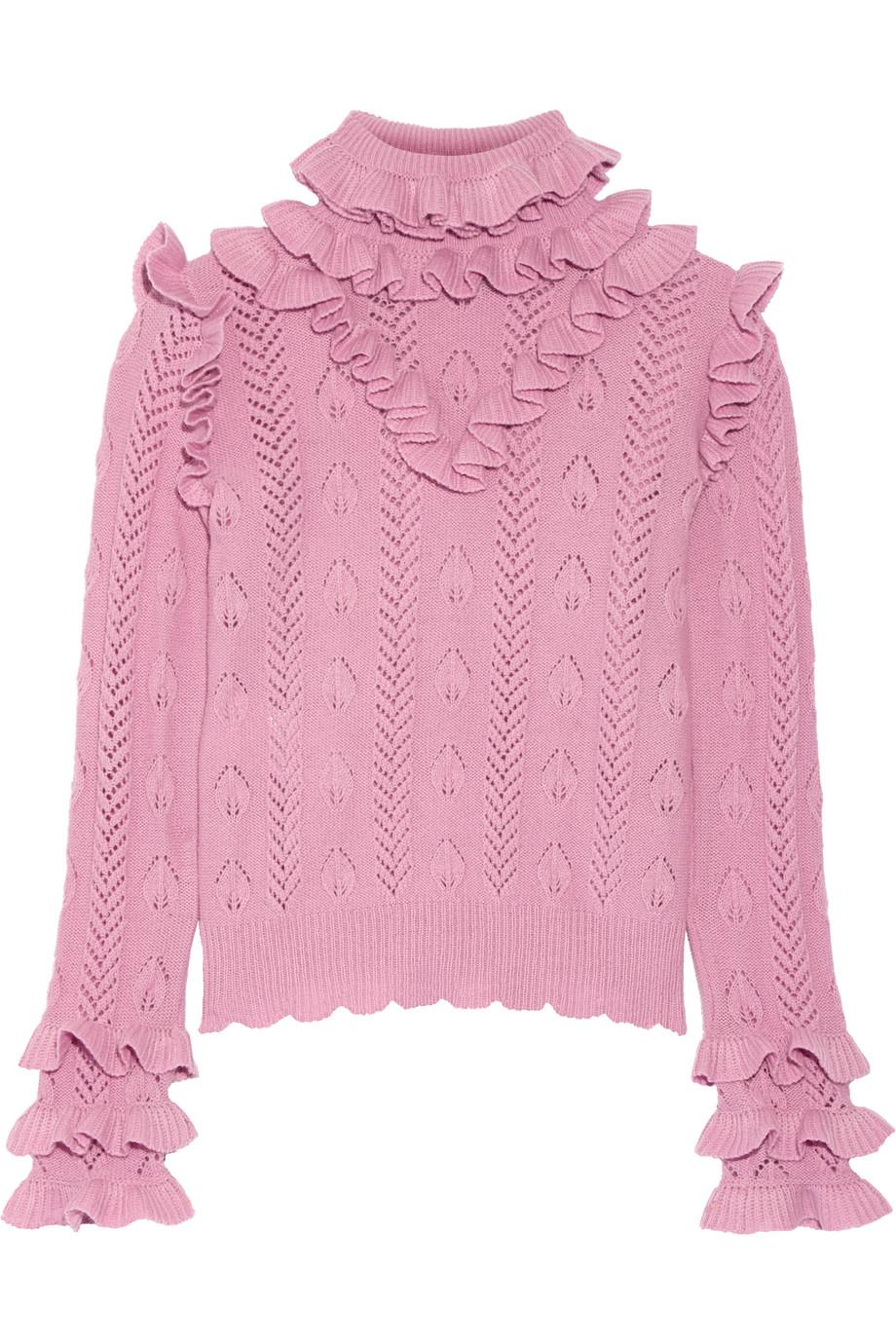 Gucci Ruffled Pointelle-Knit Wool-Blend Sweater, Baby Pink, Women's, Size: XL