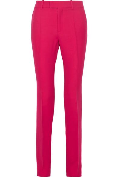 Gucci - Wool And Silk-blend Crepe Straight-leg Pants - Fuchsia
