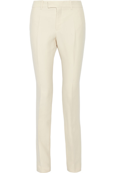 Gucci - Wool And Silk-blend Faille Straight-leg Pants - Cream