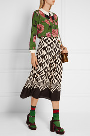 Pleated printed silk crepe de chine midi skirt